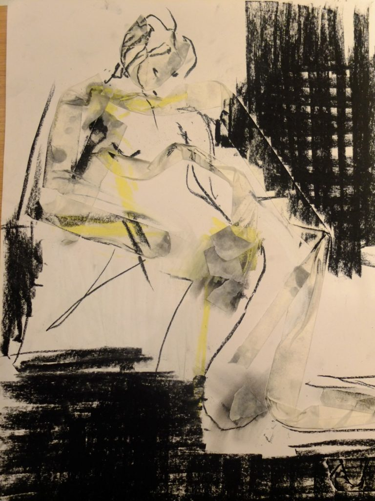 Image shows an art work of a reclining female figure using charcoal, bright yellow chalk and masking tape on white paper