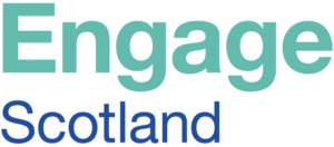 Engage Scotland logo - mint and blue text