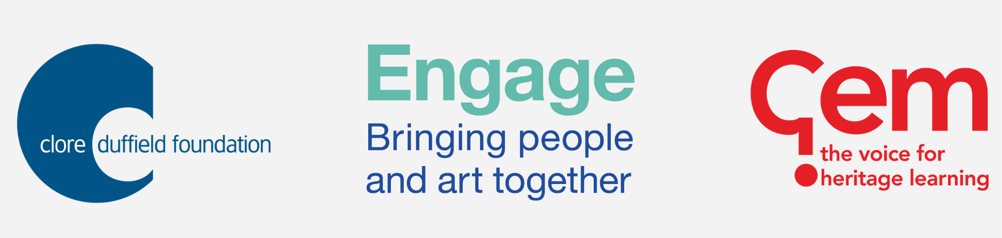 Clore Duffield Foundation, Engage and GEM logos